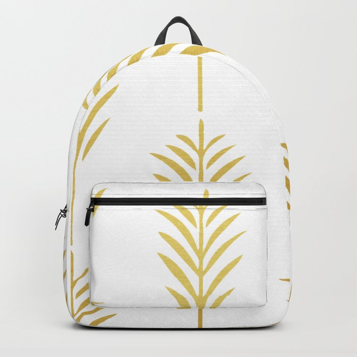 Golden Palm Leaves on White Backpack