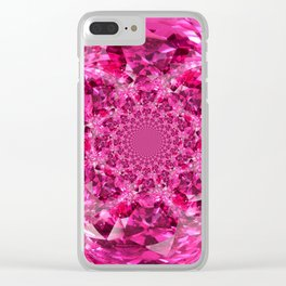 OCTOBER PINK SAPPHIRE FANTASY BIRTHSTONE GEM Clear iPhone Case
