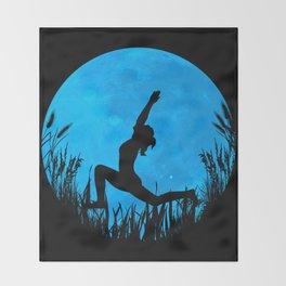 Yoga Moon Posture - Blue Throw Blanket