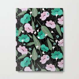 Botanical pattern in green and pink Metal Print