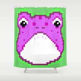 Pixel Froggy - Purple Shower Curtain