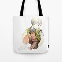 boy Tote Bags featuring boy by Andreas Derebucha