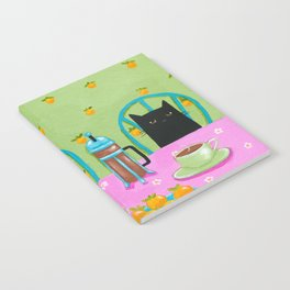 French Press Coffee Cats Notebook