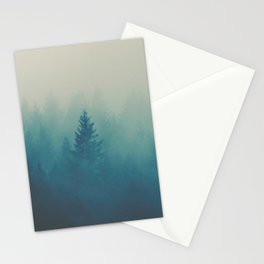 Misty Turquoise Blue Pine Forest Foggy Parallax Tree Landscape Silhouette Stationery Cards