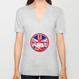 British Barber Union Jack Flag Icon Unisex V-Neck