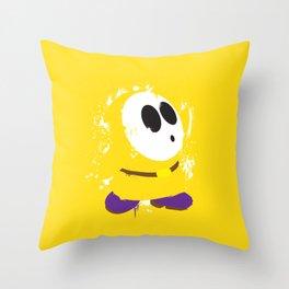 Yellow Shy Guy Splattery Design Throw Pillow