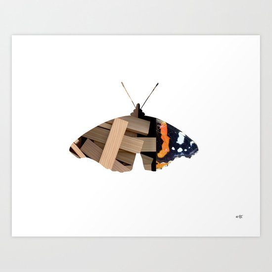 Butterfly WoodMix Collage Art Print