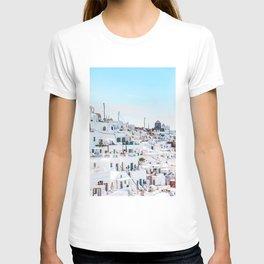 Santorini Greece Ligh Blue Sky T-shirt