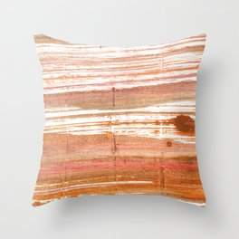 Antique brass abstract watercolor Throw Pillow