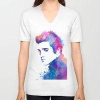 elvis presley V-neck T-shirts featuring Elvis Presley by WatercolorGirlArt