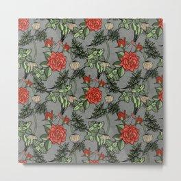 Plentiful Roses and Herbs Metal Print