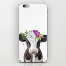 Baby Cow with Flower Crown iPhone Skin