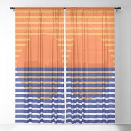 Orange Split Sun Sheer Curtain