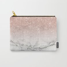 Modern faux rose pink glitter ombre white marble Carry-All Pouch