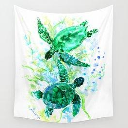 Sea Turtles Underwater Scene Turquoise Blue design, bright blue green design Wall Tapestry