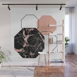 Geometric - Hexagon, Black Marble Rose Gold Wall Mural
