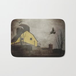 Yellow Barn on Sepia Background With Birds Flying A170 Bath Mat
