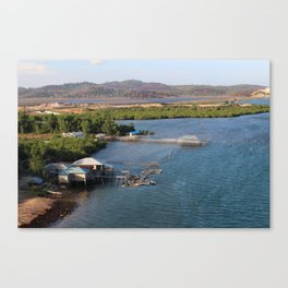 Indonesian River-House Sunset Photo Canvas Print