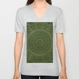 Mandala Royal - Green and Gold Unisex V-Neck