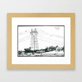 Power Lines Across the Missouri River Framed Art Print