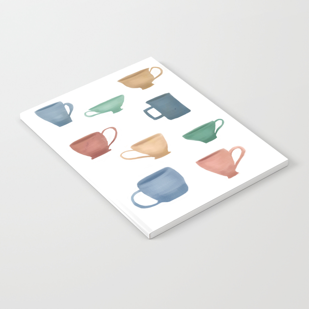 Colorful Tea Cups And Coffee Mugs Notebook by Foxgloveandivy NBK7931374