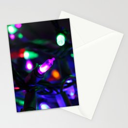 Colorful Christmas Lights Stationery Cards