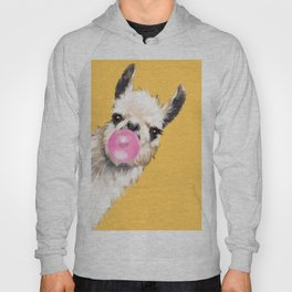Bubble Gum Sneaky Llama in Yellow Hoody