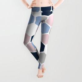 Texture hexagons - Blu&Violet Leggings