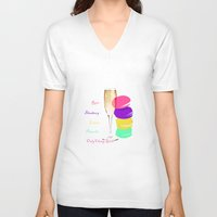 macaron V-neck T-shirts featuring only classy girls by vidikay