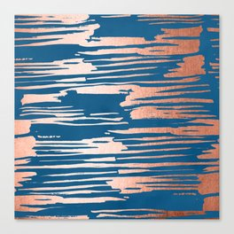 Tiger Paint Stripes - Sweet Peach Shimmer on Saltwater Taffy Teal Canvas Print