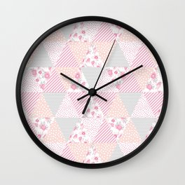 Pink soft flowers triangle quilt pattern print for home decor nursery craft room Wall Clock