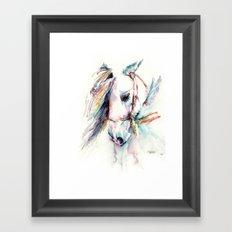 Fantasy white horse Framed Art Print