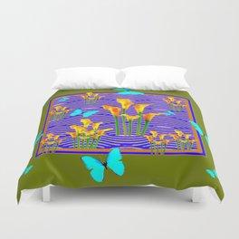 Moss Green Blue-Gold  Butterfly Floral Art Duvet Cover