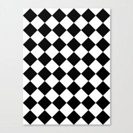 Large Diamonds - White and Black Canvas Print