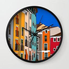 Casas de colores Cuenca. Wall Clock