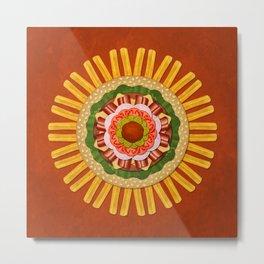 Bacon Cheeseburger with Fries Mandala Metal Print