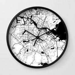 Amsterdam White on Black Street Map Wall Clock