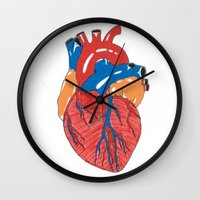 anatomical heart Wall Clocks featuring Anatomical Heart by KA Doodle