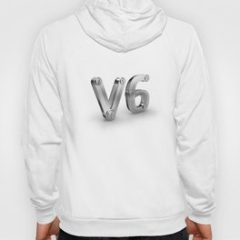 metal 3D V6 icon for six cylinders strong car engine Hoody