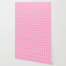 Carnation pink - pink color - White Lines Grid Pattern Wallpaper