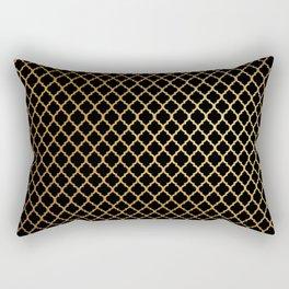 Black and Gold Quatrefoil Rectangular Pillow