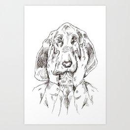 Sad Bloodhound Art Print