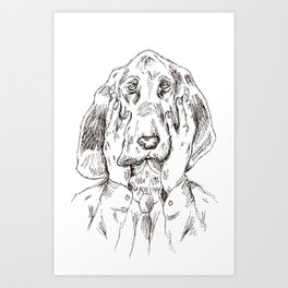 Sad Bloodhound Art Print