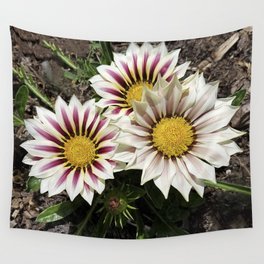 Zany Gazania - red and white stripes Wall Tapestry