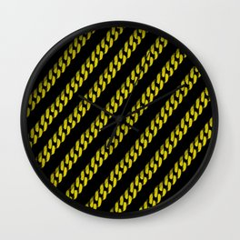 Yellow Line Chain on Black Wall Clock