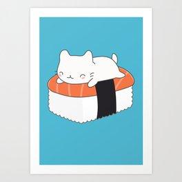 Kawaii Cute Sushi Cat Art Print