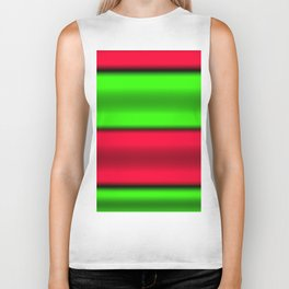 Green & Red Horizontal Stripes Biker Tank