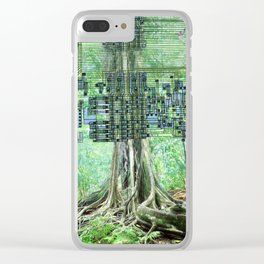 Digital Circuit Jungle Tree, creatures of the electronic age Clear iPhone Case