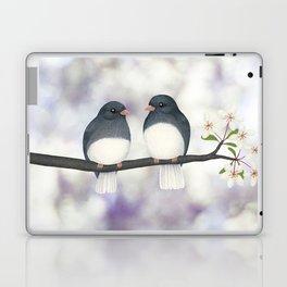 dark eyed juncos (bokeh and blossoms) Laptop & iPad Skin