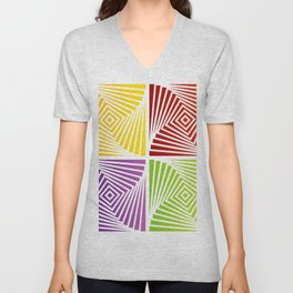 Colorful Squares twirling from the Center. Optical Illusion of PerspectiveColorful Squares twirling Unisex V-Neck